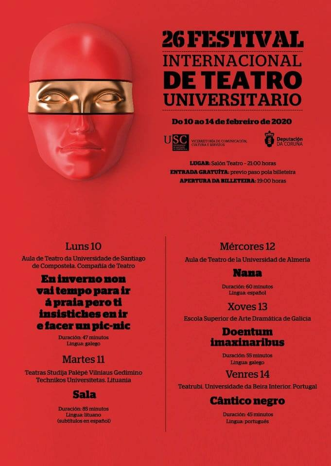 Cartel do XXVI Festival internacional de Teatro Universitario de Santiago de Compostela
