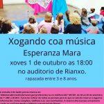 Cartel de Xogando coa Música de Esperanza Mara en Rianxo