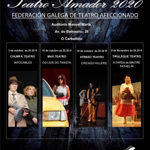 Cartel do circuito galego de teatro amador 2020 - O Carballiño