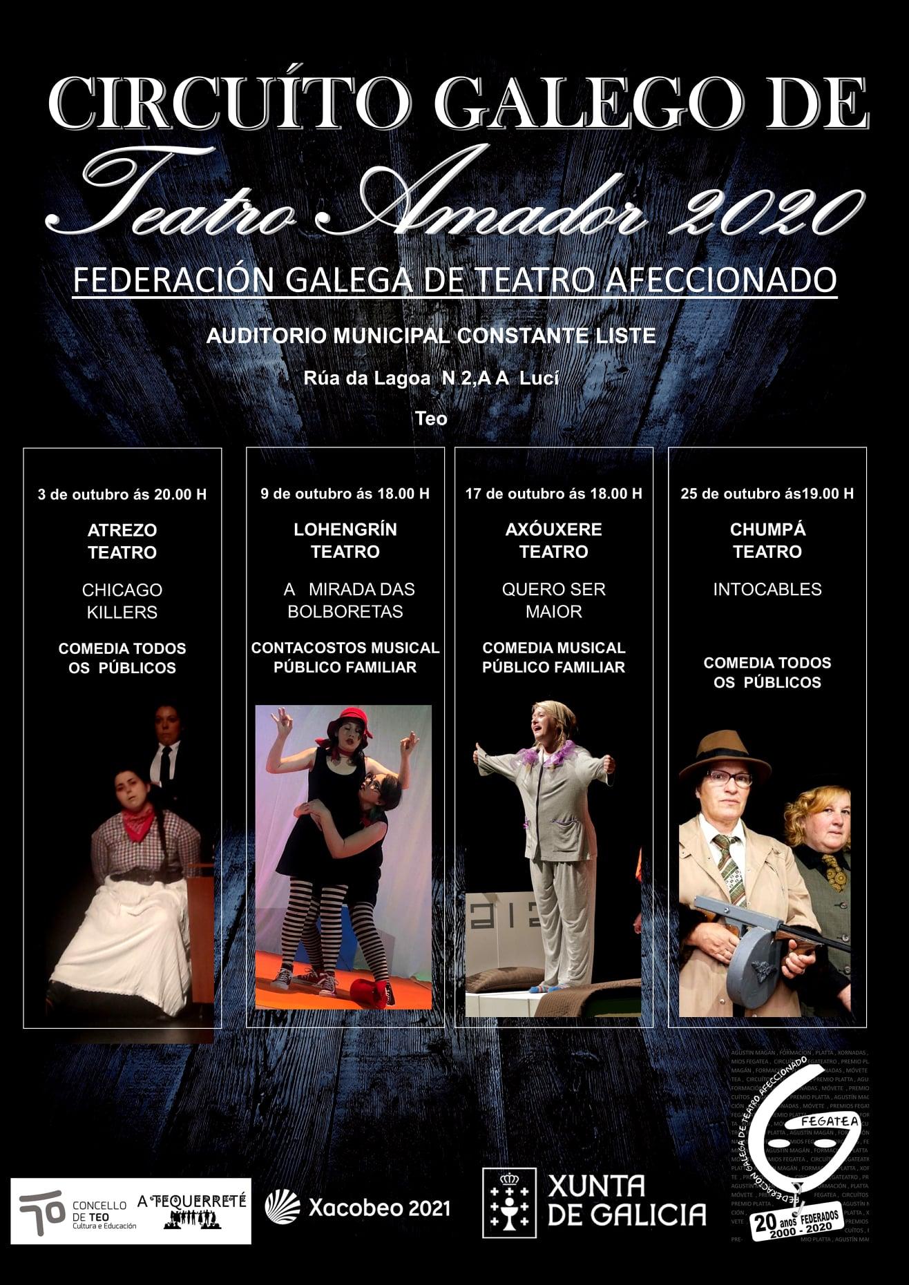Cartel do circuito galego de teatro amador 2020 - Teo